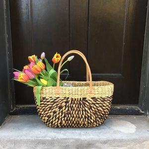 Handbags - Handwoven straw market tote | Brown